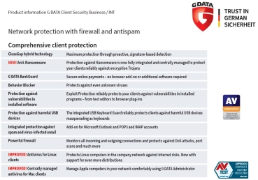 GData Client Security Business - 5 Lizenzen - 1 Jahr Abonnement Service